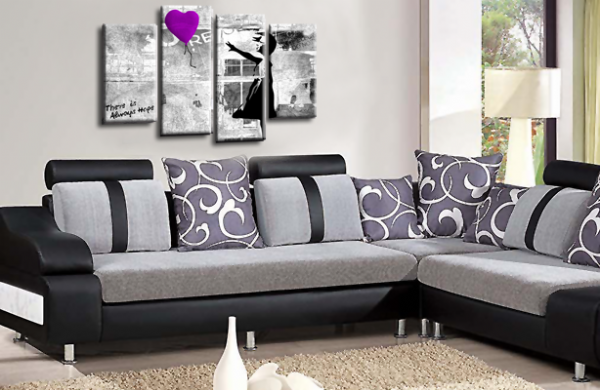 Banksy Art Purple Balloon Girl Multi Wall Picture Love Peace Print